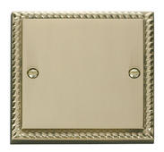 Click Deco 1 Gang Blank Plate Georgian Cast Brass