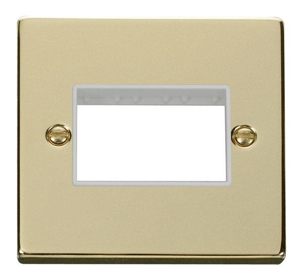 Click Deco 1 Gang Plate Triple Aperture White Victorian Pol Brass