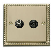 Click Deco 1 Gang Satellite & Isolated Coaxial Socket Black Georgian Cast Brass