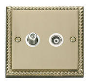 Click Deco 1 Gang Satellite & Isolated Coaxial Socket White Georgian Cast Brass