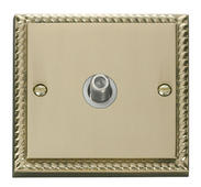 Click Deco 1 Gang Satellite Socket White Georgian Cast Brass