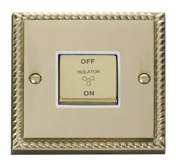 Click Deco 10A 1 Gang Ingot 3 Pole Fan Isol Switch White Georgian Cast Brass