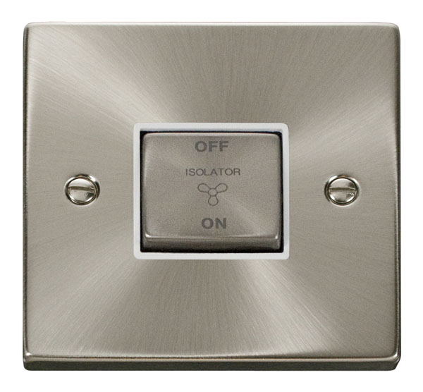 Click Deco 10A 1 Gang Ingot 3 Pole Fan Isol Switch White Victorian Sat Chrome