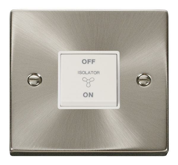 Click Deco 10A 1 Gang 3 Pole Fan Isol Switch White Victorian Sat Chrome