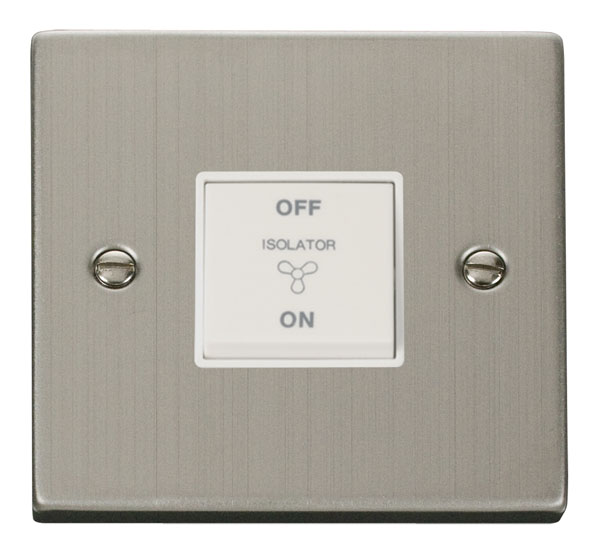 Click Deco 10A 1 Gang 3 Pole Fan Isol Switch White Victorian St Steel