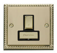 Click Deco 13A Fused Ingot Switched Connection Unit Black Georgian Cast Brass