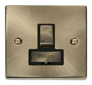 Click Deco 13A Fused Ingot Switched Connection Unit Black Victorian Ant Brass