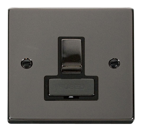 Click Deco 13A Fused Ingot Switched Connection Unit Black Victorian Blk Nickel