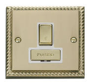 Click Deco 13A Fused Ingot Switched Connection Unit White Georgian Cast Brass