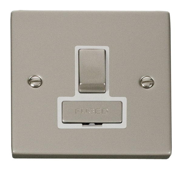 Click Deco 13A Fused Ingot Switched Connection Unit White Victorian Prl Nickel