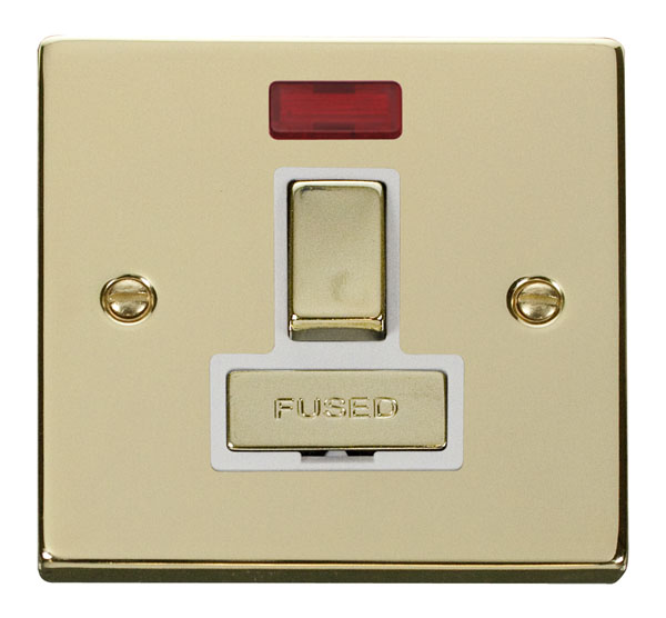 Click Deco 13A Fused Ingot Switched Spur With Neon White Victorian Pol Brass
