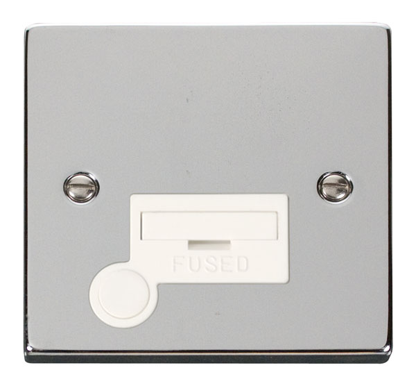 Click Deco 13A Fused Spur With Flex Outlet White Victorian Pol Chrome