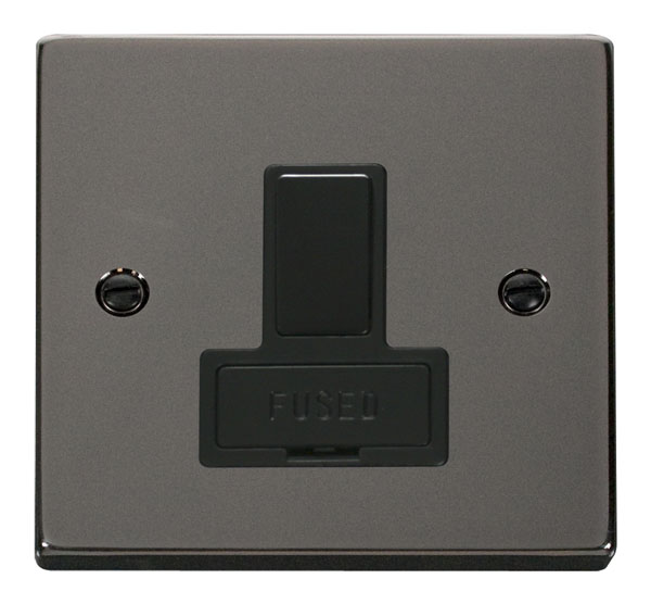 Click Deco 13A Fused Switched Connection Unit Black Victorian Blk Nickel