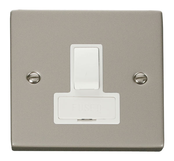 Click Deco 13A Fused Switched Connection Unit White Victorian Prl Nickel