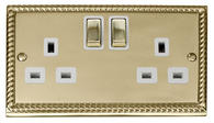Click Deco 2 Gang 13A DP Ingot Switched Socket White Georgian Cast Brass