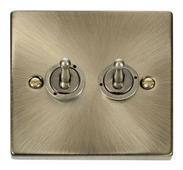 Click Deco 2 Gang 2 Way 10AX Toggle Switch Victorian Ant Brass