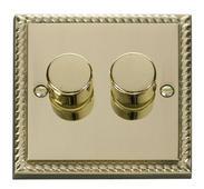Click Deco 2 Gang 2 Way 400Va Dimmer Switch Georgian Cast Brass