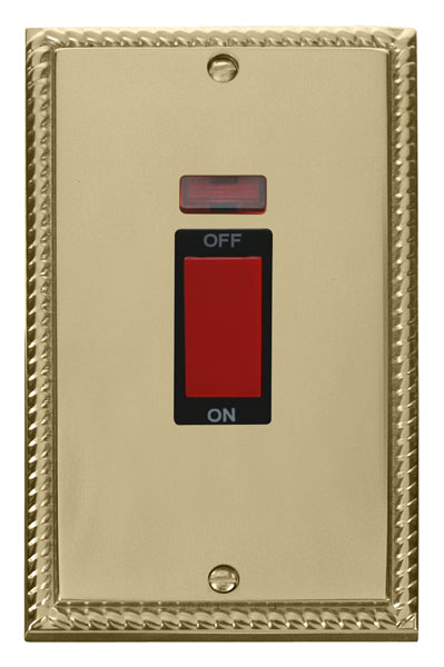 Click Deco 2 Gang 45A DP Switch With Neon Black Georgian Cast Brass