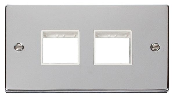 Click Deco 2 Gang Plate (2 x 2) Aperture White Victorian Pol Chrome