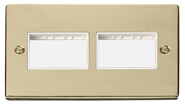 Click Deco 2 Gang Plate (3 x 3) Aperture White Victorian Pol Brass