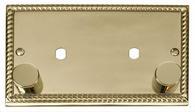 Click Deco 2 Gang Plate 2 Module (1630W Max) Georgian Cast Brass