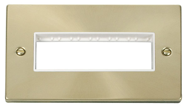 Click Deco 2 Gang Plate 6 In-Line Aperture White Victorian Sat Brass