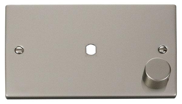 Click Deco 2 Gang Plate Single Aperture (1000W Max) Victorian Prl Nickel
