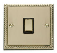 Click Deco 20A 1 Gang DP Ingot Switch Black Georgian Cast Brass