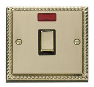 Click Deco 20A 1 Gang DP Ingot Switch + Neon Black Georgian Cast Brass