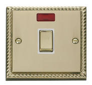 Click Deco 20A 1 Gang DP Ingot Switch + Neon White Georgian Cast Brass