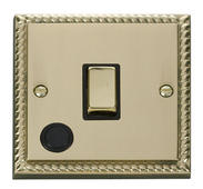 Click Deco 20A 1 Gang DP Ingot Switch With FO Black Georgian Cast Brass