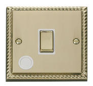 Click Deco 20A 1 Gang DP Ingot Switch With FO White Georgian Cast Brass