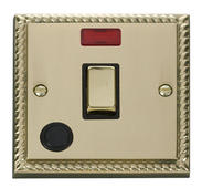 Click Deco 20A 1 Gang DP Ingot Switch With FO & Neon Black Georgian Cast Brass