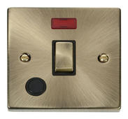 Click Deco 20A 1 Gang DP Ingot Switch With FO & Neon Black Victorian Ant Brass
