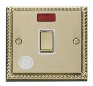 Click Deco 20A 1 Gang DP Ingot Switch With FO & Neon White Georgian Cast Brass
