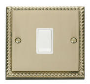 Click Deco 20A 1 Gang DP Switch White Georgian Cast Brass