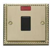 Click Deco 20A 1 Gang DP Switch + Neon Black Georgian Cast Brass