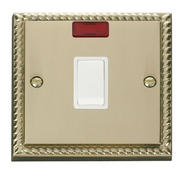 Click Deco 20A 1 Gang DP Switch + Neon White Georgian Cast Brass