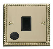 Click Deco 20A 1 Gang DP Switch With FO Black Georgian Cast Brass