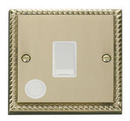 Click Deco 20A 1 Gang DP Switch With FO White Georgian Cast Brass