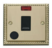 Click Deco 20A 1 Gang DP Switch With FO & Neon Black Georgian Cast Brass