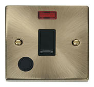 Click Deco 20A 1 Gang DP Switch With FO & Neon Black Victorian Ant Brass