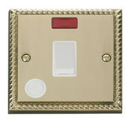 Click Deco 20A 1 Gang DP Switch With FO & Neon White Georgian Cast Brass