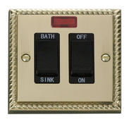 Click Deco 20A DP Sink/Bath Switch Black Georgian Cast Brass