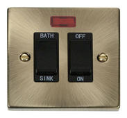 Click Deco 20A DP Sink/Bath Switch Black Victorian Ant Brass