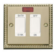 Click Deco 20A DP Sink/Bath Switch White Georgian Cast Brass