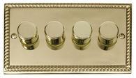Click Deco 4 Gang 2 Way 400Va Dimmer Switch Georgian Cast Brass