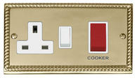 Click Deco 45A DP Switch + 13A Sw Socket White Georgian Cast Brass