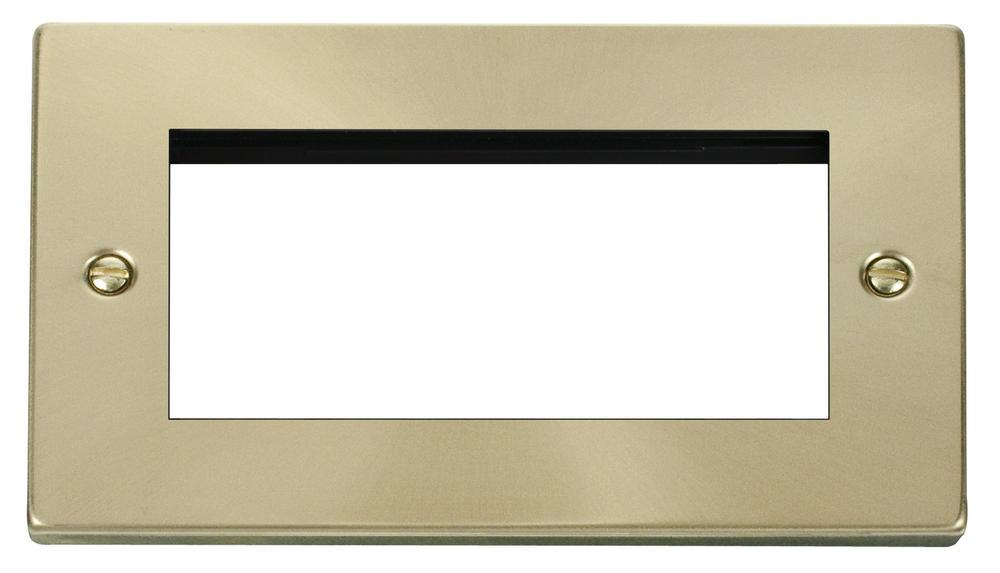 Click Deco Double Plate (Quad Media Module Aperture) Victorian Sat Brass