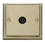 Click Deco Single Coaxial Socket Black Georgian Cast Brass
